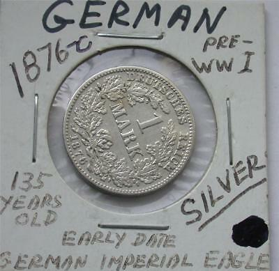 1876 C One 1 MARK German Empire Imperial Eagle Silver Coin