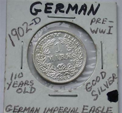 1902 D One 1 MARK German Empire Imperial Eagle Silver Coin
