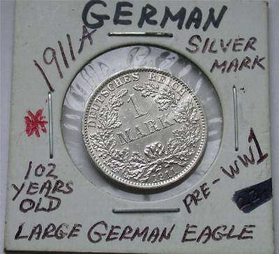 1911 A One 1 MARK German Empire Imperial Eagle Silver Coin