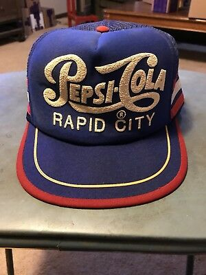 Vintage Pepsi Cola Hat Rapid City Made In The USA Trucker Style 3 Strip