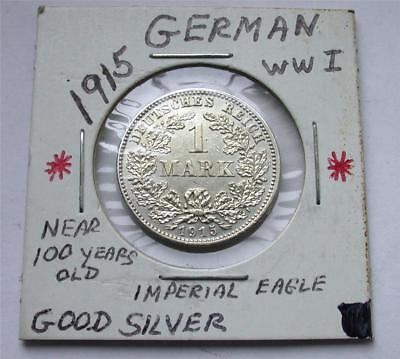 1915 J One 1 MARK German Empire Imperial Eagle Silver Coin