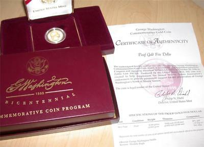1999-W $5 Five Dollar Gold Washington Bicentennial Commemorative Proof Coin