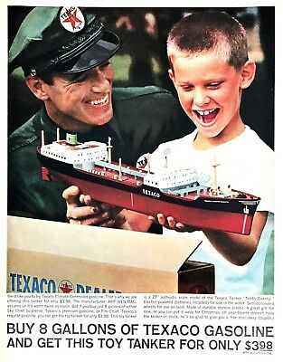 "1962 Texaco Toy North Dakota Tanker Ship photo ""Christmas Gift"" vintage print ad"