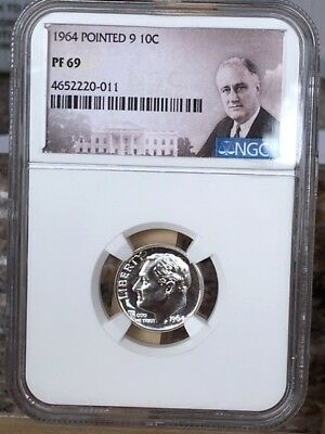"""1964 Pointed 9 Roosevelt Dime NGC PF 69 * Rare """"Must Have"""" variety! *"""