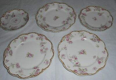Lot Of Haviland & Co Limoge Salad Saucer Plate Pink Roses Gold Trim Scallop Edge