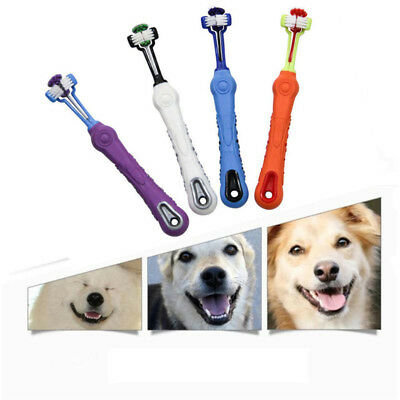 Three Sided Pet Toothbrush Dog Cat Cleaning Mouth Brush Teeth Care Grooming Tool
