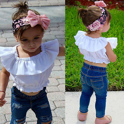 Toddler Baby Girls Kids Outfits Off Shoulder T-shirt + Ripped Pants Clothes Set