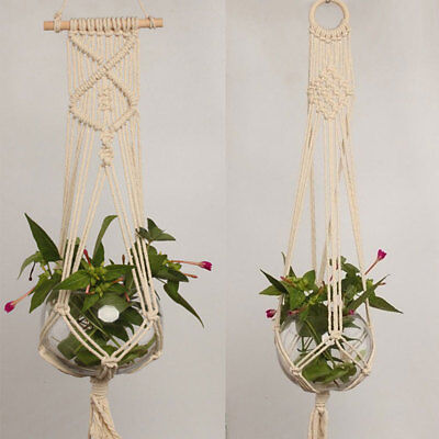 Pot Holder Macrame Plant Hanger Hanging Planter Basket Jute Braided Rope Newly