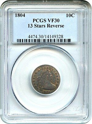 1804 10c PCGS VF30 (13 Stars Reverse) Early Draped Bust Dime - Bust Dime