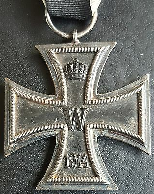 ✚7597✚ German Iron Cross II. Class medal WW1 3 PIECE CONSTR. MAGNETIC MAKER: M W