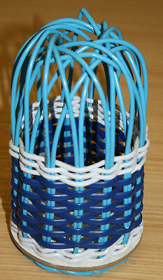 Vintage Blue & White Wool Holder Basket