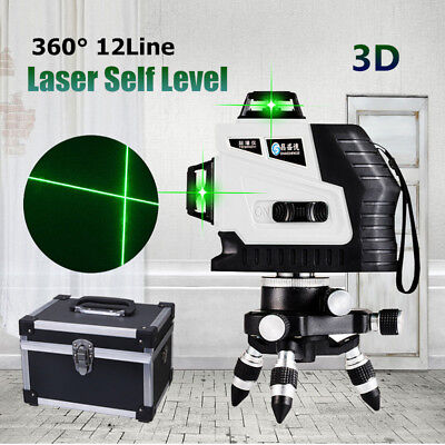 360° Rotary 12 Line Laser 3D Cross Self Leveling Vertical Horizontal Level Green