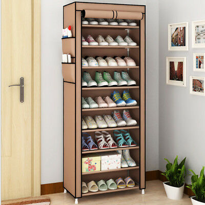 Dustproof 10 Tier Shoes Cabinet Storage Organiser Shoe Rack Stand Holds 27 Pair : shoes cabinet uk - Cheerinfomania.Com