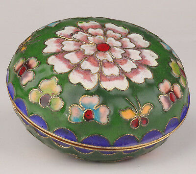 Cloisonne Jewelry Box Old Handmade Crafts Gift Green