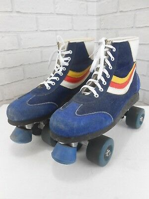 Vintage 1980s Classic Retro Disco Rainbow Suede Roller Boots / Skates UK 7/8