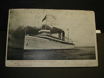 Steamer NORTHWEST, Northern Steamship Co Naval Cover 1906 HOUGHTON, MICHIGAN