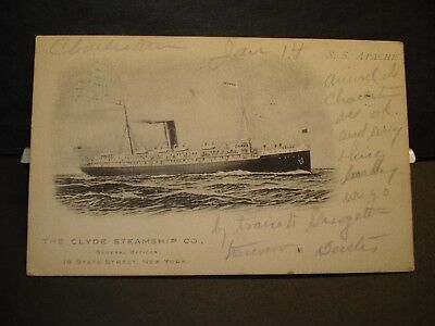 SS APACHE, The Clyde Steamship Co Naval Cover 1906 CHARLESTON, SC
