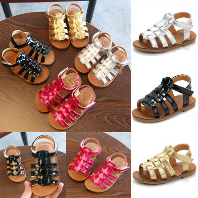 Kids Boys Girls Kids Hollow Out Leather Sandals Summer Beach Casual Flat Shoes