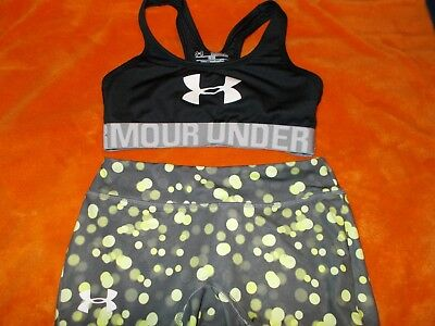 Girls Y M Under Armour Cheer T-Back top shorts outfit Gymnastics Sports Bra 2 pc