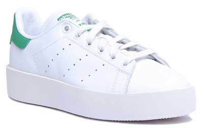 best sneakers 87bff b4d88 Adidas Stan Smith Bold Women Leather White Green Trainers UK Size 3 - 8