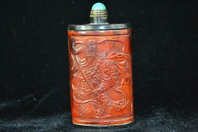 Chinese Collectible Old Bone Carving figure Guangon Statue big Snuff Bottle