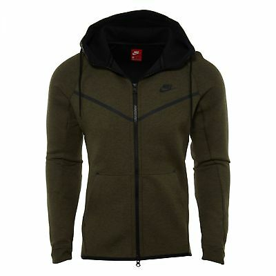NIKE TECH FLEECE Windrunner Hoodie Mens 805144 222 Olive Zip
