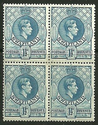 SWAZILAND SG30 1938 1½d LIGHT BLUE p13½x13 BLOCK OF 4 MTD MINT