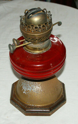 Antique  Oil Lamp With Ruby Red Glass Well