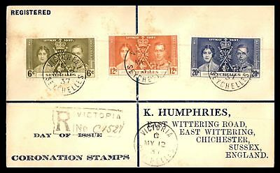 Seychelles 1937 Victoria Coronation Stamps May 12 1937 Registered Addressed Cove