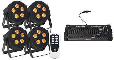 (4) American DJ ADJ 5P-HEX 6-In-1 RGBAW+UV LED Par Lights+Remote+DMX Controller