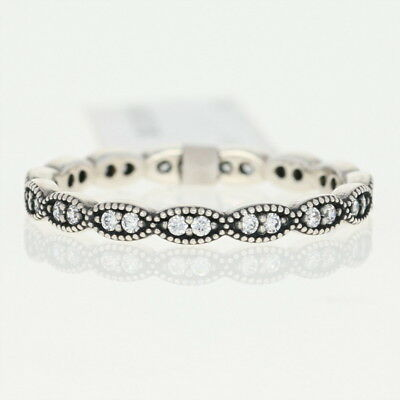 NEW Authentic Pandora Sparkling Leaves Stackable Ring- Sterling CZ 190923CZ-52 6