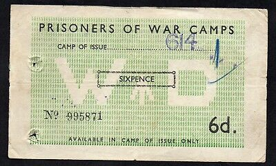 UK Great Britain - 6 pence 1944 WWII POW  Camp, WO the camps seals