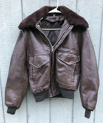 Vintage 1970's 80's Brown Leather G-1 A-2 Style Flight Bomber Jacket Size 40