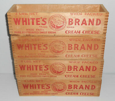 Vintage Lot of 4 White's Brand Dovetailed Cream Cheese 3 lbs oxes