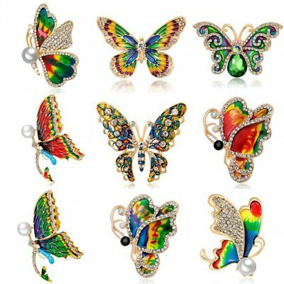 Charm Crystal Pearl Insect Butterfly Brooch Pin Women Costume Wedding Jewelry