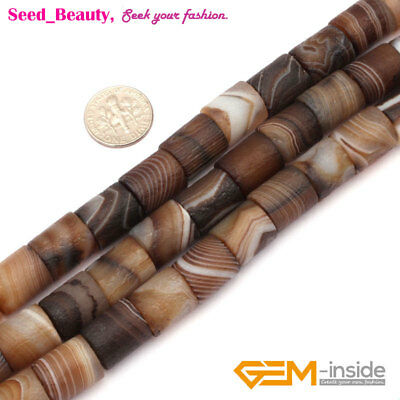 Natural Matte Frost Botswana Agate Tube Beads For Jewelry Making Craft Beads 15""