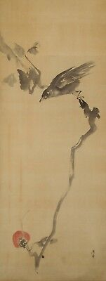 #9661 Japanese Hanging Scroll: Crow on Persimmon Tree