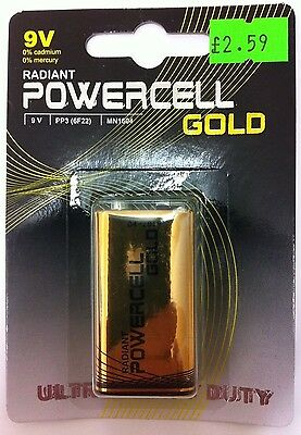 4 x PP3 9v  POWERCELL GOLD Batteries ULTRA Heavy Duty Zinc Batteries (LF22