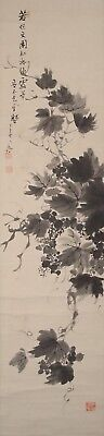 #9666 Japanese Hanging Scroll: Grapes