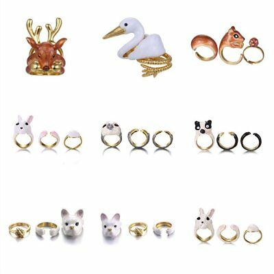 Fashion Cute Dog Rabbit Cat Deer Women Gold Plated Cuff Ring Set Wedding Jewelry