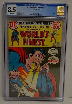 World's Finest Comics #213 (DC 1972) CGC 8.5 White Pages Comic Book Atom S671