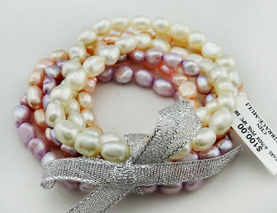 GENUINE 6 -7 mm PINK PEARLS BRACELETS - 6 Pieces * NEW WITH TAG ** Msrp $100.00