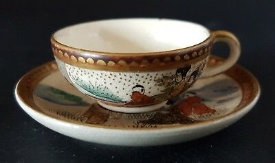 Exquisite Miniature Toy 19th Century Japanese Satsuma Cup and Saucer