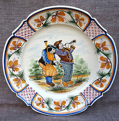 HB Quimper Bagpipe Musicians Scalloped Dish Hand Painted Faience 1930