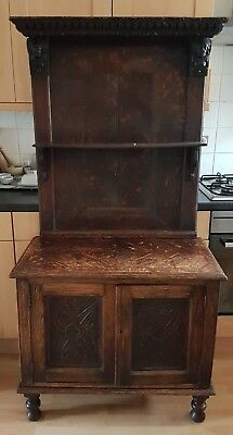 Small 19th C. Jacobean Style Oak Dresser with Older Additions