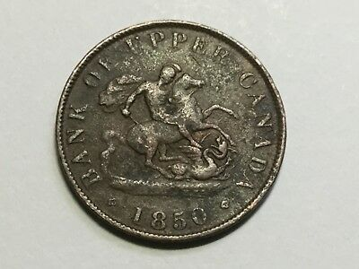 BANK OF UPPER CANADA 1850 1/2 Penny token, Nice for wear, very rough surface