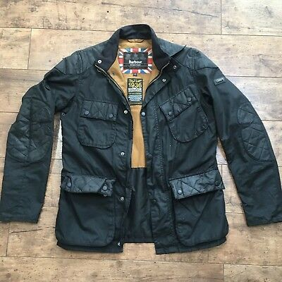 Men's Barbour International Black Selkirk Wax Biker Jacket Size Small