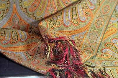 Rare 19Th Century Silk European 2-Sided  Paisley Piano Shawl Tt652