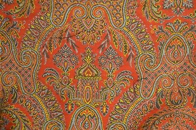 Vintage Belgian 2-Sided Paisley Piano Shawl Throw Tt653