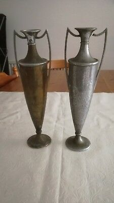 PAIR OF ANTIQUE WHITE METAL FLOWER VASES WITH HANDLES TALL 30cm